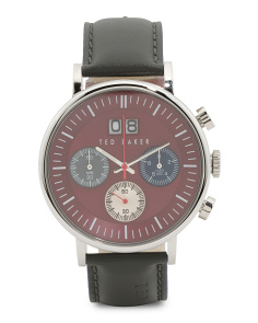 Men's Chronograph Leather Strap Red Dial Watch