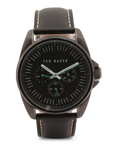 Men's Multi Function Leather Strap Watch In Black