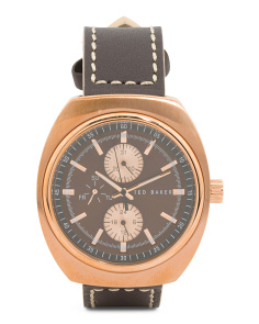 Men's Multi Function Leather Strap Watch In Rose Gold
