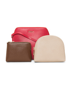 Leather Crossbody Three Pouch Set