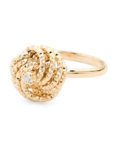 Made In Italy 14k Gold With Cubic Zirconia Love Knot Ring