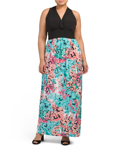 Plus Hydrangea Halter Maxi Dress