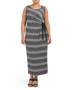 Plus Lace Stripe Print Maxi Dress