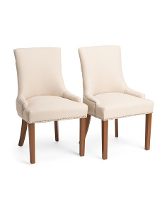 Set Of 2 Mckenzie Stallion Faux Linen Chairs