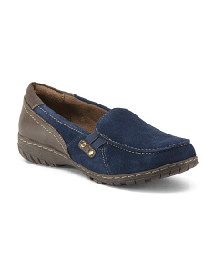 Wide Step In Suede Loafers