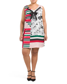 Plus Tie Neck With Grommet Trim Dress