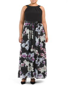 Plus Halter With Printed Maxi Dress