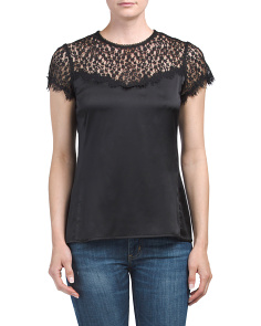 Made In USA Silk Lace Trim Top