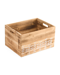 Large Vines Wood Storage Bin