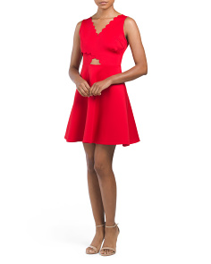 Juniors Scallop Fit & Flare Dress