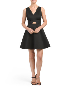 Juniors Scalloped Fit & Flare Dress