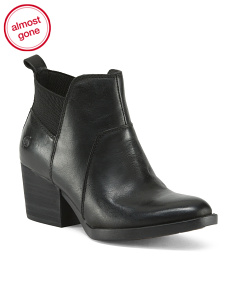 Low Pull On Leather Booties