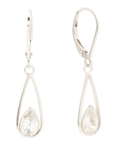 Sterling Silver Tear Drop Cubic Zirconia Earrings