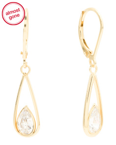 Gold Plated Sterling Silver Tear Drop Cubic Zirconia Earrings