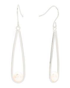 Plated Sterling Silver Pearl Sling Shot Earrings