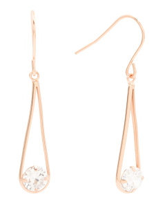 Rose Gold Plated Sterling Silver Cubic Zirconia Sling Shot Earrings
