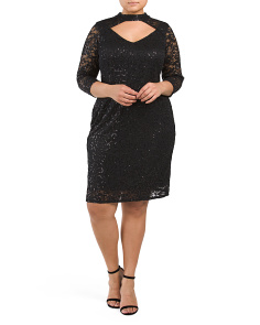 Plus Keyhole Front Lace Dress