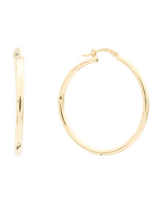 Gold Plated Sterling Silver Diamond Cut Hoop Earrings