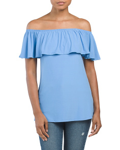 Juniors Off The Shoulder Flounce Top