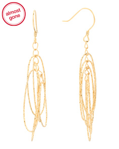 Gold Plated Sterling Silver Diamond Cut Multi Oval Earrings