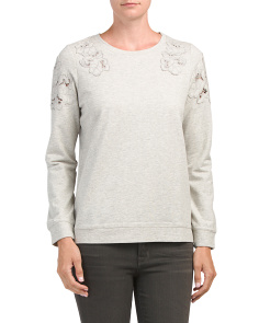 Floral Applique French Terry Sweatshirt