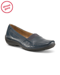 Wide Leather Step In Loafers