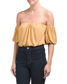 Juniors Made In USA Off The Shoulder Crop Top