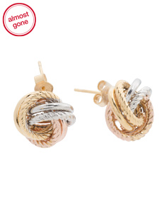 Made In Italy 14k Tricolor Gold Love Knot Earrings