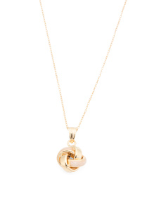 Made In Italy 14k Gold And Rose Enamel Love Knot Necklace