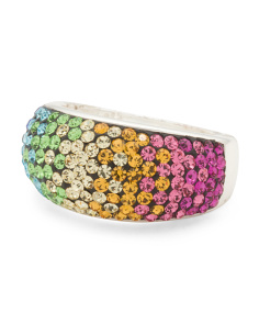 Sterling Silver Multi Color Swarovski Crystal Dome Ring