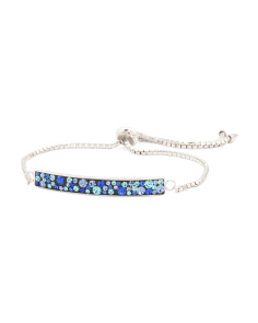 Sterling Silver Blue Tonal Crystal Friendship Bracelet