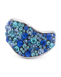 Sterling Silver Multi  Blue Crystal Ring