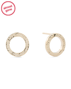 Made In Italy 14k Gold Diamond Cut Circle Earrings