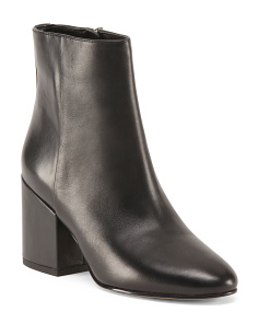 Mid Heel Mid Calf Leather Booties