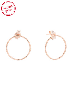Made In Italy 14k Rose Gold Open Circle Earrings
