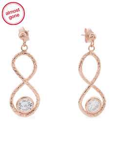 Made In Italy 14k Rose Gold Infinity Cubic Zirconia Earrings