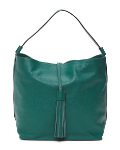 Made In Italy Leather Tassel Hobo