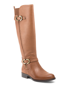 High Shaft Leather Boots With Buckle