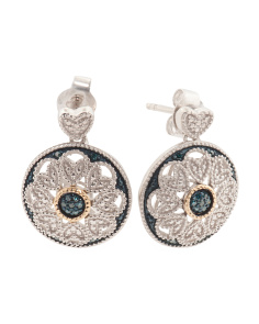 Made In India Sterling Silver And 14k Gold Blue Diamond Earrings