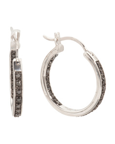 Made In India Sterling Silver Black Diamond Hoop Earrings