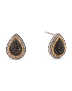 Made In India Sterling Silver Black Diamond Pear Earrings