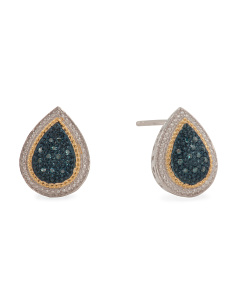 Made In India Sterling Silver Blue Diamond Pear Earrings
