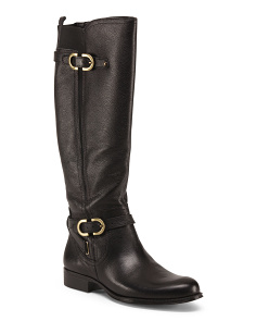 Wide High Shaft Leather Boots