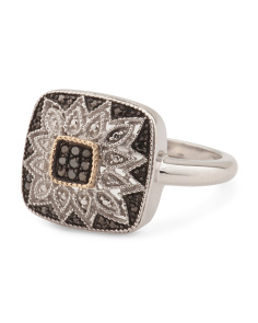 Made In India Sterling Silver And 14k Gold Black Diamond Art Deco Ring