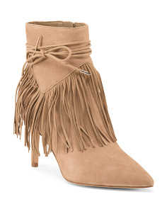 Fringe High Heel Suede Booties