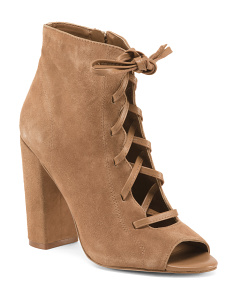 Peep Toe Lace Up Suede Booties