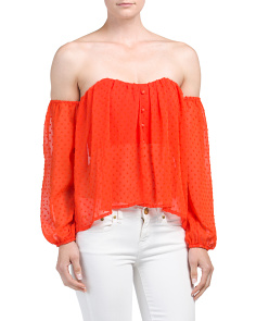 Juniors Off The Shoulder Swiss Dot Top