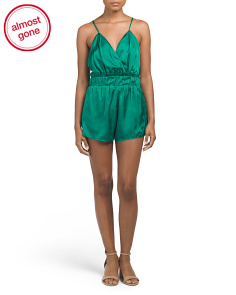 Juniors Satin Romper