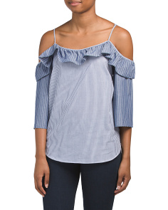 Cold Shoulder Ruffled Pinstriped Top