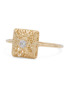 Made In Italy 14k Gold Cubic Zirconia Square Ring